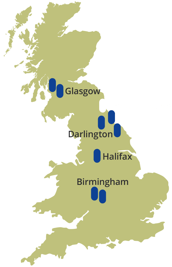 Map showing the locations of Young Foundations step-down, and specialist education, services